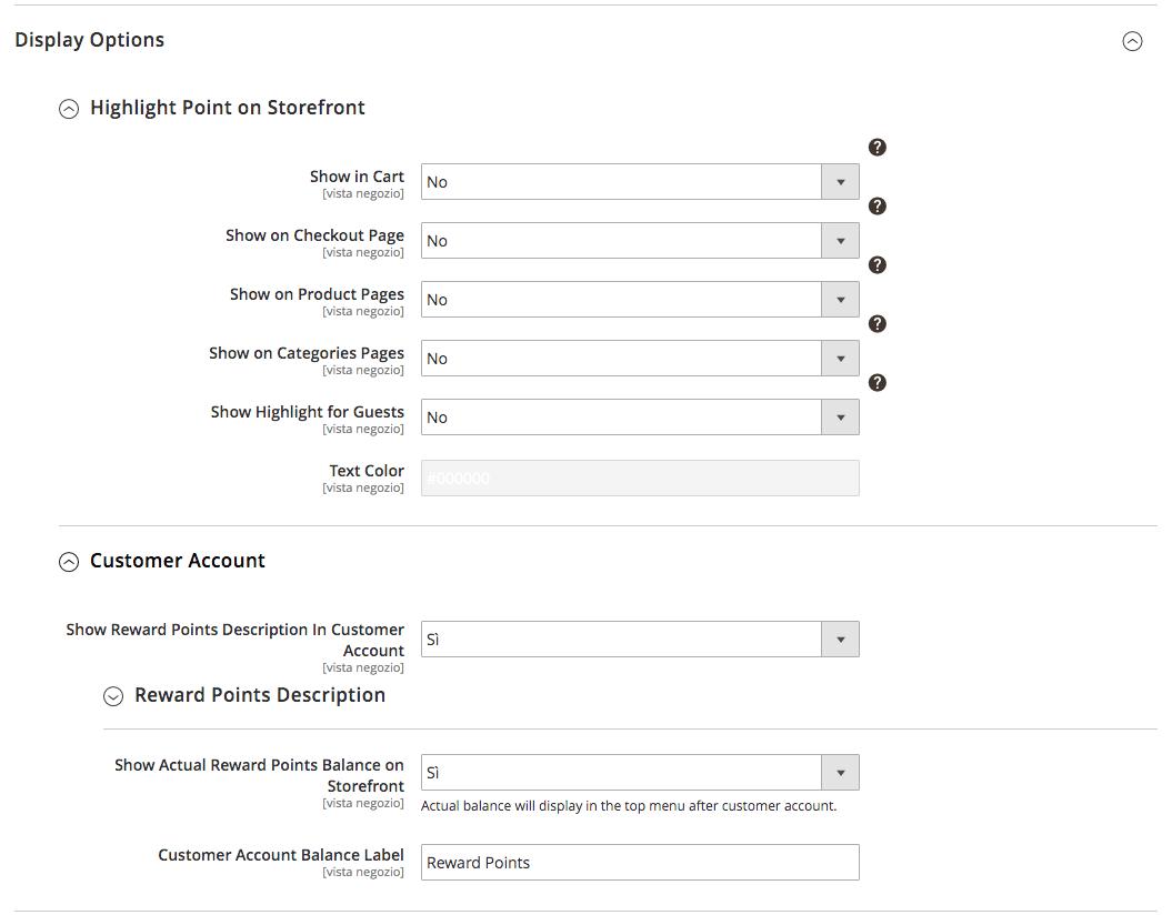 display option di reward points by Amasty su Magento 2