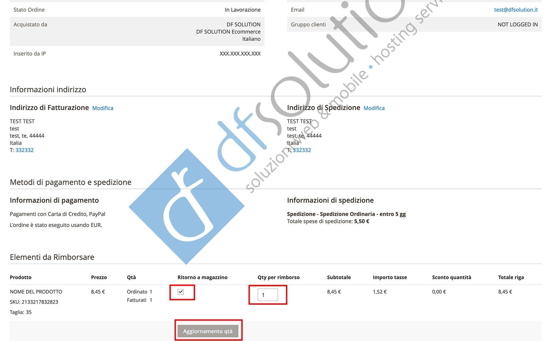 Come creare una Nota di Credito o rimborso parziale su Magento2